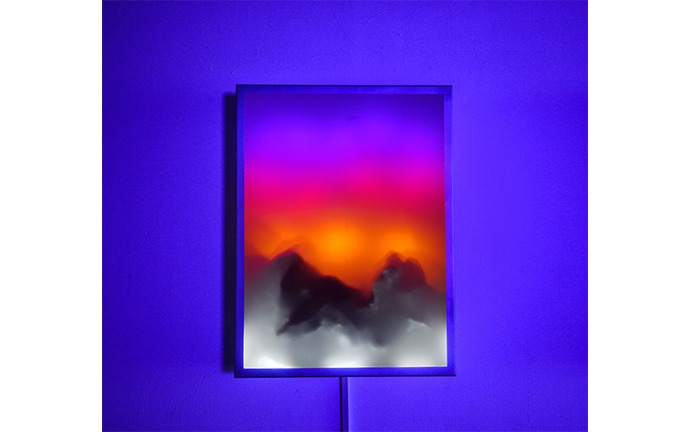 We Don't Care, We Got Epic Views, Mylar on Stainless Steel LIghtbox 45.7 x 60.9 x 7.6 cm 2018
